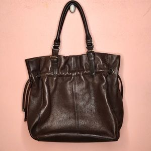 CALVIN KLEIN Drawstring Leather Tote